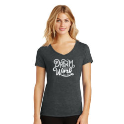 Dream Less Work More - Ladies Tri-Blend V-Neck T Thumbnail
